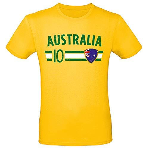Shirt-Panda Fußball WM T-Shirt · Fan Artikel · Nummer 10 · Passend zur Weltmeisterschaft · Nationalmannschaft Länder Trikot Jersey für 2022 · Herren Damen Kinder · Australien Australia XL