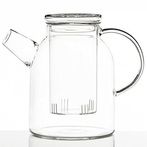 Dimono Jumbo Teekanne XXL Borosilikat-Glas mit Teesieb Teefilter Glaskanne 1800ml
