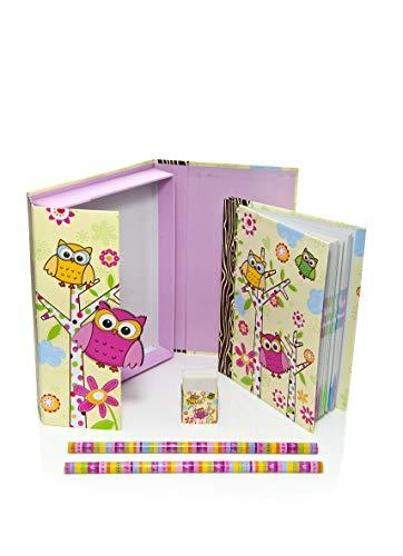 Mousehouse Gifts Filles Hibou Chouette Cadeau pour Enfants Ensemble de Cahiers Papeterie - Petite