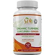Sash Vitality Organic Turmeric Curcumin 2130mg High Strength Serving with Black Pepper & Ginger | Best Curcumin Absorption | 120 Vegan Approved Capsules | Soil Association Certified Organic | UK Made