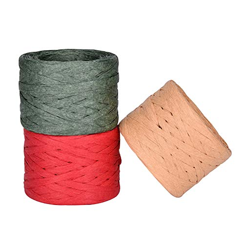 3 rollos de Cinta de Papel de Rafia Cinta de rafia natural Guita de papel de embalaje Cuerda de Rafia Seca Cadena de papel de rafia para Manualidades Bricolaje, envoltura de regalos (3 colores)