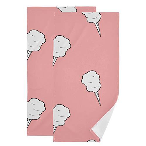 Juego de 2 Toallas faciales para Mujeres de Dibujos Animados Lindo Verano Rosa Helado Toalla para secar el Cabello paños de Lavado Suaves absorbentes de Secado rápido