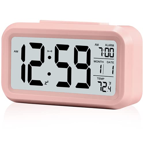 Kids Alarm Clock for Bedroom,Battery Operated Digital Desk Clocks,with Temperature,Backlight,Snooze Function,Small Electronic Clock for Child Teens Girl Woaman- Pink