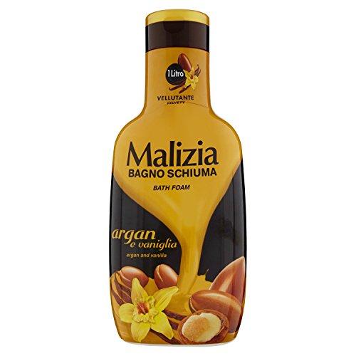 Malizia: Velvety Bath Foam, Argan and Vanilla Scent 33.8 Fluid Ounce (1000mL) Bottle [ Italian Import ]