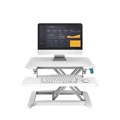 HYY-YY Juego del ordenador de escritorio sentado y de pie turística Riser sentado o de pie de estación de trabajo de altura ajustable for el ordenador portátil de escritorio con extraíble (Color: Blan
