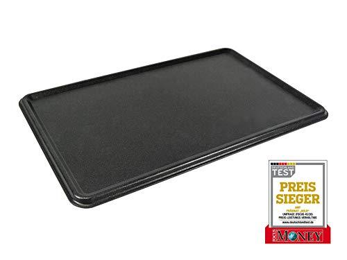 AMT Gastroguss GN 1/1 Mehrzweck - Backplatte (Wendeplatte) mit Saftrinne, 53 x 32,5 cm, Lotan® Antihaft-Beschichtung für fettfreies Braten, hitzebeständig, AMZN-5333WP