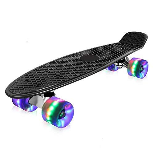 HNJZX Kinder Skateboard, Mini Cruiser Retro Skateboard, Kinderskateboard Retroboard Flashing mit LED Leuchten für Kinder Jugendliche Erwachsene Anfänger (schwarz)