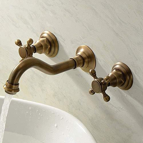 Cocina latón dividido grifo de lavabo de dos manijas serie antigua de tres piezas montado en la pared bañera de tres orificios baño grifo de inodoro baño
