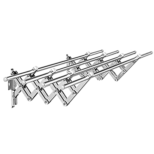 LTLWSH Tendedero Pared Extensible de Acero Inoxidable, Práctico Tendal Plegable para Secar Ropa, Compacto Tendedero De Pared Tipo Acordeón, Ideal para Ahorrar Espacio,4rod,1.5M