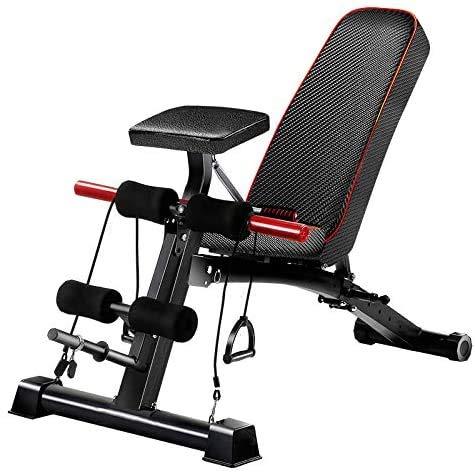 Banco de entrenamiento Ajustable de 90 ° para entrenamiento de Cuerpo completo, multifuncional, plegable, banco Plano con peso de 300 libras para gimnasio en casa,levantamiento de piernas.