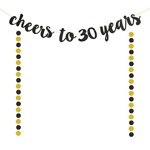 30 Bandera de Cumpleaños,SEELOK Decoraciones de 30th Cumpleaños 30 Aniversario Banner Feliz Cumpleaños Guirnalda Cheers to 30 Years para Celebrar Boda de Perla Fiesta de Jubilación Fondos Fotográficos