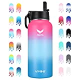 Vmini Water Bottle with Straw, Wide Rotating Handle Straw Lid, Wide Mouth Vacuum Insulated Stainless Steel Water Bottle, Gradient Pink+Blue+Blue, 32 oz