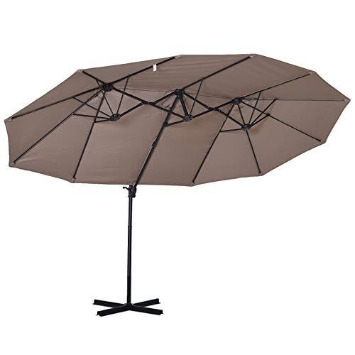 Outsunny Sonnenschirm mit Kurbel, Doppelschirm, Verstellbarer Gartenschirm, Sonnenschutz, Metall, Braun, 440 x 270 x 250 cm