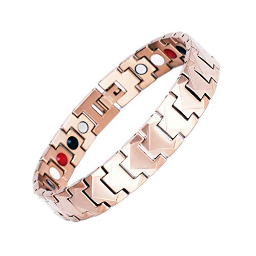 Titanium Steel Bracelet for Men Pain Relief for Arthritis Magnetic Recovery Healing Bracelets Health Healing Jewelry,Rose