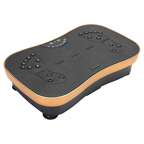 ZZSQ Vibration Plate Exercise Machine Crazy Fit Vibration Plate with Bluetooth, Whole Body Vibrating Massager, with LED Display, Remote Control, 2 Resistance Bands,Yellow