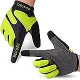 boildeg Fahrradhandschuhe Radsporthandschuhe rutschfeste und stoßdämpfende Mountainbike Handschuhe mit Signalfarbe geeiget Unisex Herren Damen (XL, Grün)