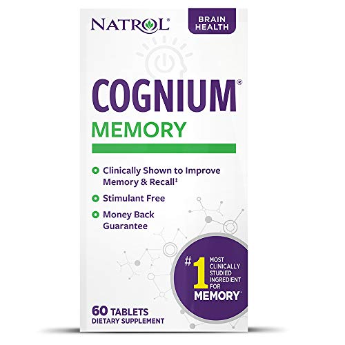 Natrol Cognium Tablets, Brain Health, Keeps Memory Strong, #1 Clinically Studied, Shown to Improve Memory and Recall, Safe and Stimulant Free, 100mg, 60 Count
