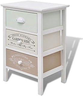 Daonanba Armoire à tiroirs Armoire latérale Style de Pays français 3 tiroirs Bois