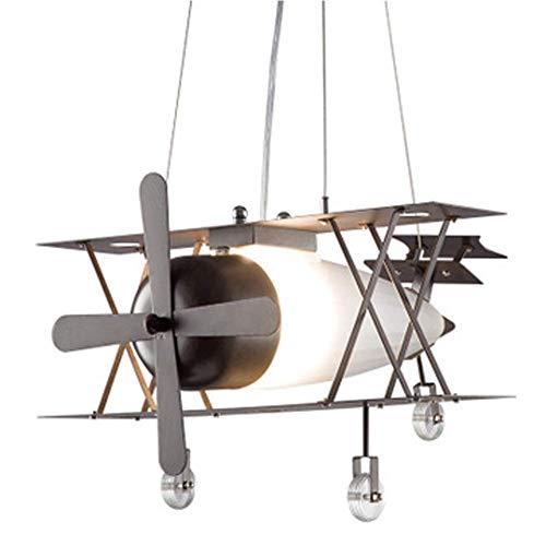 Lámpara de la Habitación de los Niños Lámpara Colgante LED Creatividad Avión para Habitación Juvenil, Luz de Techo Industrial con Marco de Hierro para Dormitorio Blanco Cálido E27