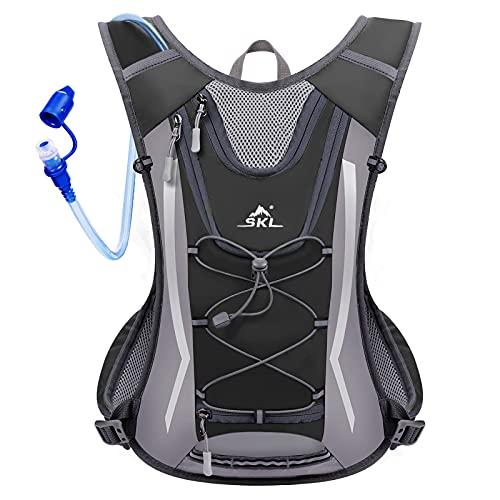 SKL Trinkrucksack mit 2L Trinkblase Trinksystem Hydration Backpack Wasser Rucksack Wasser Blase Wasserbeutel Trinksystem für Radfahren/Wandern/Klettern Beutel + 2L Trinkblase (Schwarz)