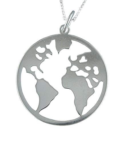 Alylosilver Collar Colgante Mapa Mundi Bola del Mundo de Plata para Mujer - Incluye Cadena de 45 cm y Estuche para Regalo