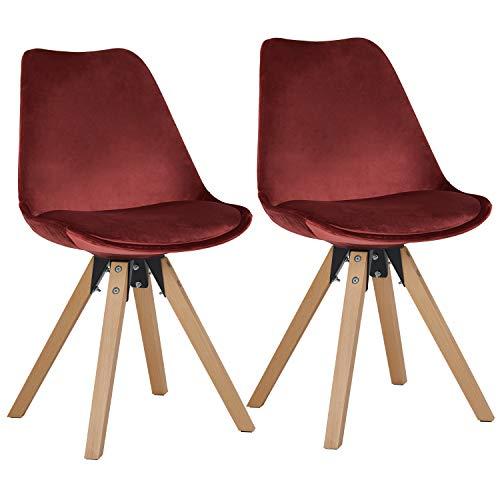 Duhome 2er Set Stuhl Esszimmerstühle Küchenstühle Farbauswahl mit Holzbeinen Sitzkissen Esszimmerstuhl Retro 518M, Farbe:Rot, Material:Stoff