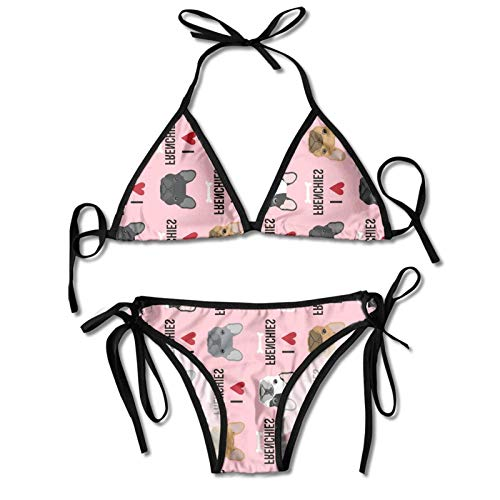 Pink Heart Dog Cute Funny French Bulldog Fawn Women's Sexy Halter Top Bikini Swimsuit Two Piece Bathing Suits Novelty Themed Printed