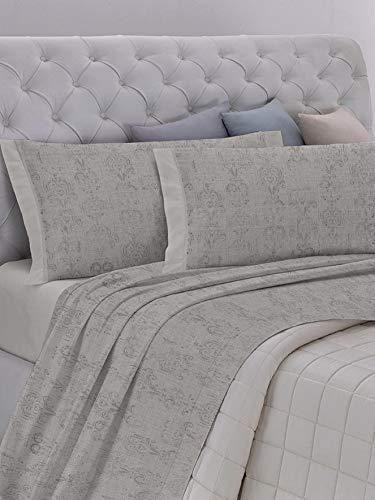 GEMITEX Juego de sábanas primaveral para Cama de Matrimonio, Color Gris Claro, 100 % algodón Fresco, Fabricado en Italia, Suave y Transpirable, línea de algodón en G16, Variante 08, King Size