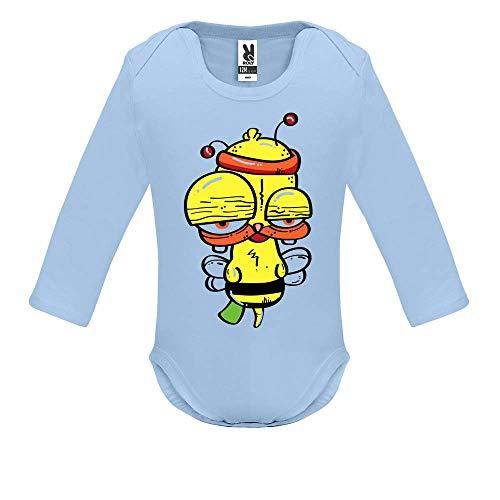 LookMyKase Body bébé - Manche Longue - Funny Bee - Bébé Garçon - Bleu - 3MOIS