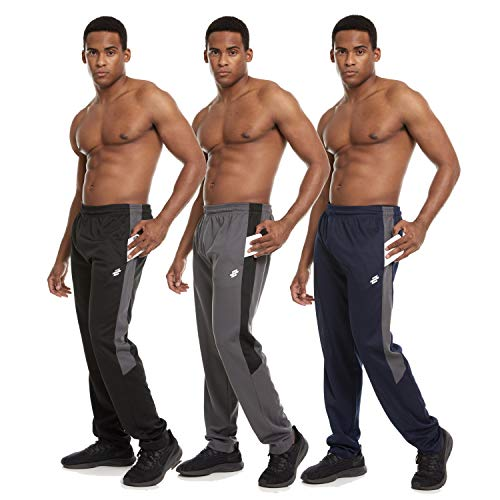 Zupo 3 Pack: Men's Active Performance Training Gym Closed Mesh Track Jogging Casual Drawstring Pants with Pockets