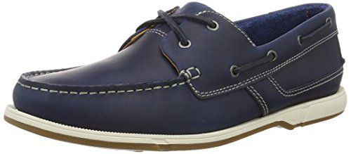 Clarks Fulmen Row, Náuticos para Hombre, Azul (Navy Leather), 41.5 EU
