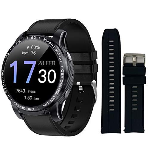 Reloj inteligente PW20 con Bluetooth, para hombre, presión arterial, frecuencia cardíaca, 24 horas, varios deportes, para Android iOS (color: negro cuero negro)