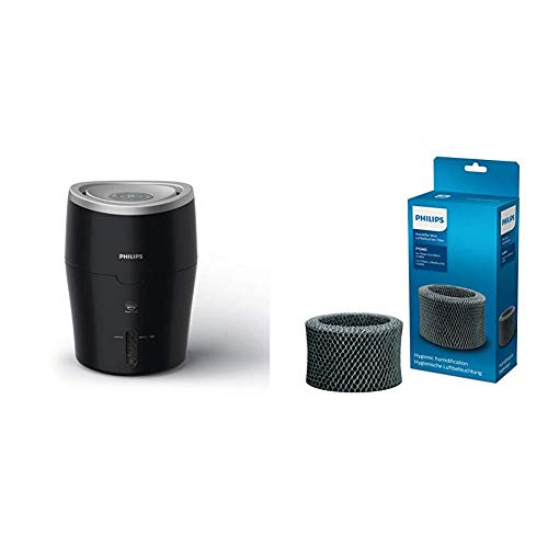 Philips Luftbefeuchter HU4814/10 (bis zu 44 m², hygienische NanoCloud-Technologie, leiser Nachtmodus, Automodus, 2 Liter Wasserbehälter) schwarz mit Ersatzfilter FY2401/30