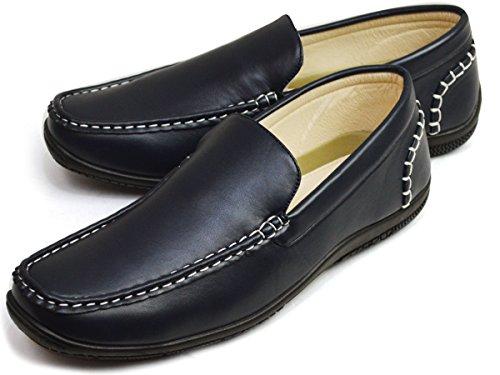 [リチャードスミス] ドライビングシューズ スリッポン メンズ ローファー スニーカー シューズ カジュアル 靴 25cm Navy 紺色 ネイビー