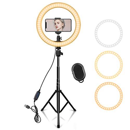10 Zoll LED Ringlicht mit 59 Zoll Stativständer & Handyhalter, Dimmbare Tischringlicht für YouTube-Videoaufnahmen, Selfie, Live-Stream, Makeup/Fotografie Kompatibel mit Smartphone