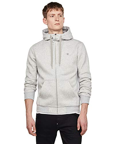 G-STAR RAW Mens Premium Core Hooded Zip Cardigan Sweater, lt Grey Htr C235-A302, L