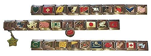Kaltner Präsente Geschenkidee - Italian Charms Setangebot mit 30 unterschiedlichen Modulen passend für alle 9 mm Armbänder
