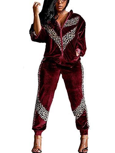 Conjunto de 2 piezas para mujer de manga larga de terciopelo leopardo sudadera y pantalones de jogging chándal, rojo vino, XL