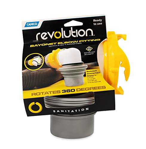 Camco 39471 Revolution 4-in-1 Sewer Elbow - Bayonet Style Elbow Rotates 360 Degrees and is Detachable, Built-in Gasket for an Odor Tight Connection