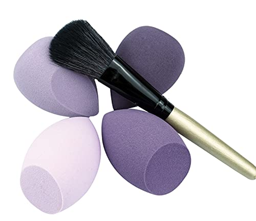 4pcs Esponja Maquillaje, Esponja suave para base líquida, cremas y polvos, huevo de maquillaje seco y húmedo sin látex (Serie púrpura)
