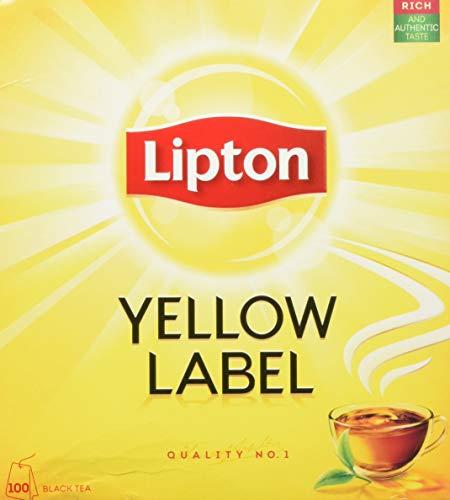 Lipton Schwarzer Tee Yellow Label ohne Hülle (aus sonnengereiften, handgepflückten Teeblättern), 1er Pack (1 x 100 Stück)
