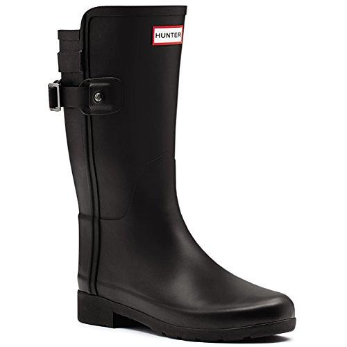 HUNTER Womens Original Refined Back Strap Short Wellingtons Winter Boots - Black - 11-43