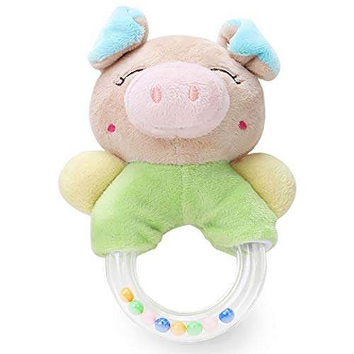 Big Save! Merveilleux Baby Rattles Cartoon Plush Stuffed Animal Pig Shaker Toy Ring Rattle Newborn Toys – Angle Pig