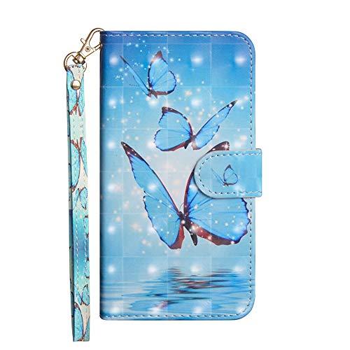 Sunrive Hülle Für Asus Zenfone Selfie ZD551KL, Magnetisch Schaltfläche Ledertasche Schutzhülle Etui Leder Hülle Cover Handyhülle Tasche Schalen Lederhülle MEHRWEG(Blauer Schmetterling)