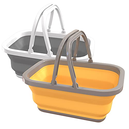 Bañera plegable con asa, fregaderos plegables de 2,9 o 11 l, bañera portátil, cesta con asa estable para lavar platos, camping, senderismo y casa