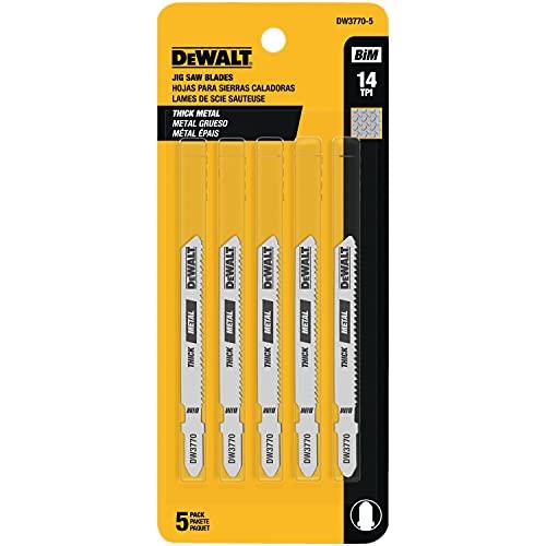 DEWALT - DW3770-5 Jigsaw Blades, Thick Metal Cutting, T-Shank, 3-Inch, 14-TPI, 5-Pack (DW37705)