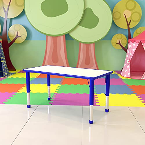 Flash Furniture 23.625''W x 47.25''L Rectangular Blue Plastic Height Adjustable Activity Table with Grey Top