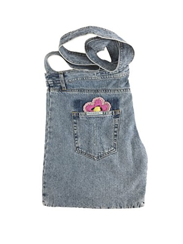 Fornarina Women Jeans Bag with Hand Made Embroidered Flower B