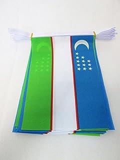 UZBEKISTAN 6 米燃烧扁平 20 旗帜 9 英寸 x 6 英寸 - 镀锌条旗帜 15 x 21 厘米 - 亚Z FLAG