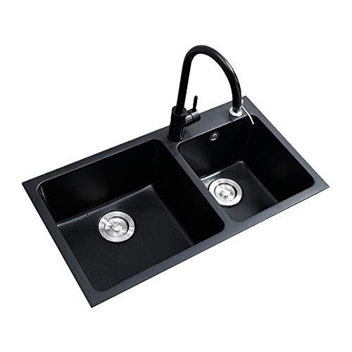 Fregadero de cocina de acero inoxidable Fregadero de cocina con accesorios 72x40cm conjunto de fregadero de cocina Subvención de cuenca de lavabo. Piedra de cuarzo de un solo tazón Instalación de Flus